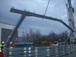 Sencillez y rapidez de montaje en naves modulares - Colocación de la estructura metálica de nave prefabricada Ecorapid en Francia
